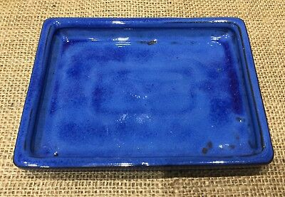 15 x 13cm Blue Glazed Ceramic Drip Tray For Bonsai Pots
