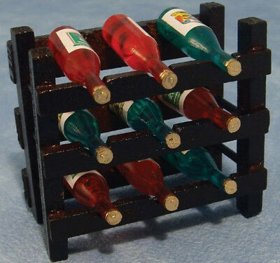 Dolls House Miniature 1:12th Scale Wine Rack With 9 Bottles.