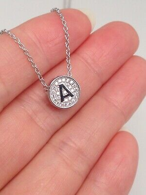 Sterling Silver 925 Cz Initial Letter A B Disc Pendant Necklace Womens 8.5mm