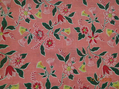 Vintage Closed FEEDSACK FEEDBAG Quilt Fabric Yellow Red Pink Flowers Green Leave