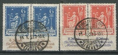 Germany Wiemar Era 1922 Sc# B3-B4 Used F/VF  Expertized pairs of this issue