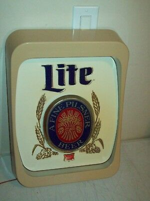 "vintage Miller LITE lighted Beer Sign WORKING nice shape ""a fine Pilsner beer"""