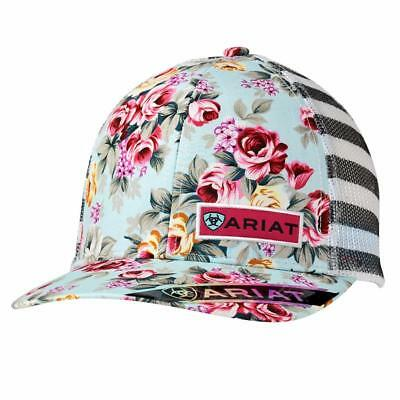 3e3e37019cd Ariat Womens Hat Baseball Cap Floral Straped Patch Snap Multi Color 1515197