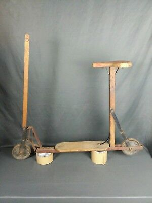 Antique Wooden Scooter. Steel Wheels Niagara scooter