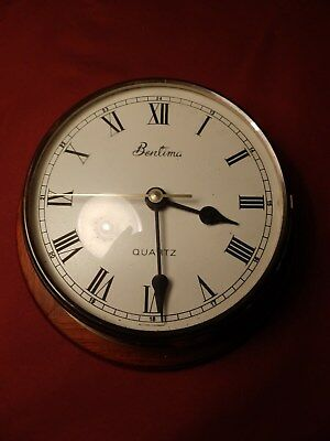 Vintage Brass Quartz Battery Wall Clock made by Bentima
