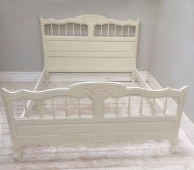 Decorative Old French Louis Xv Style Painted Double Bed
