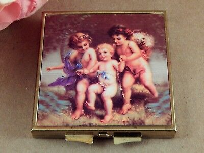 Compact Purse Mirror Angel Cherub Flip Top Standard & Magnified Vanity Accessory