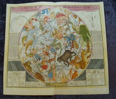 Astronomy Chart Northern Sky Coloured Engraved  Doppelmayr 1742 #c081