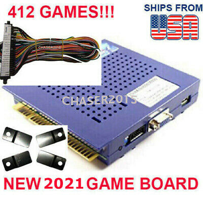 NEW 412 in 1 Game Elf JAMMA Arcade Board VGA VERTICAL w WIRE HARNESS US SELLER