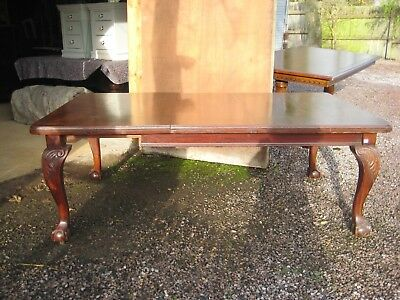 1920's Mahogany Wind Out Dining Table on Ball &  Claw Feet with One Leaf