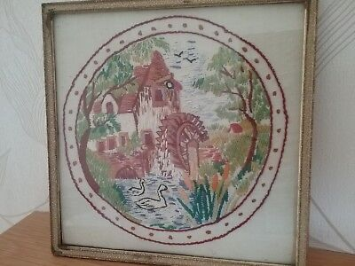 Antique/vintage Hand Embroidered Picture In Vintage Frame, Watermill Design.