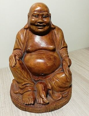 Vintage Chinese hard Wood carved  Happy sitting Buddha  sculpture H16cm
