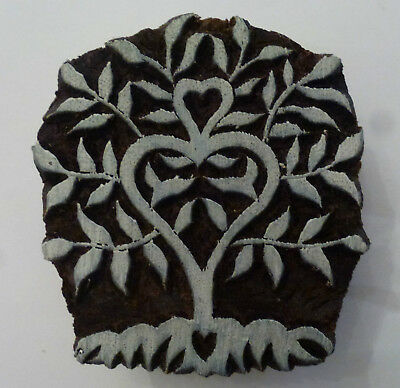 Heart Folk Tree Shaped 5.2cm Indian Hand Carved Wooden Printing Block