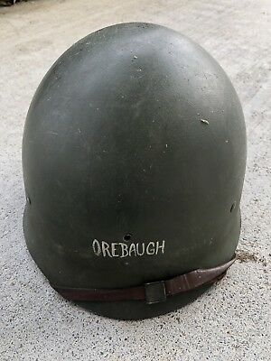 Named Orebaugh WW2 Solder Helmet Front Seam With Liner And Strap