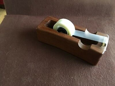 Vtg Mid Century Danish Modern Dansk Teak Wood Tape Dispenser