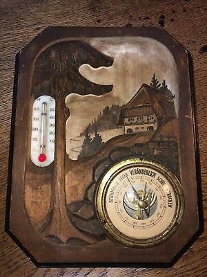 Black Forest Carving Antique Barometer Thermometer Freudenstadt Germany