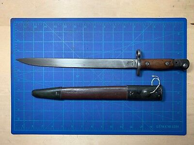 British India GRI MKII R.FI 1942 Lee Enfield Bayonet with Leather Scabbard