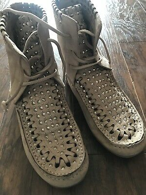 1435da9f8 SAM EDELMAN LACE Up Studded Suede Ankle Moccasins Boots Gray Size 6 ...