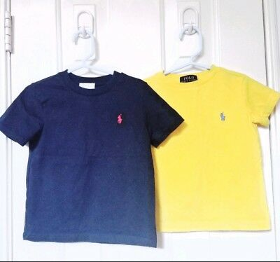 New Lot Polo Ralph Lauren Toddler Boys Tee Tshirts Sz 2T/24M Yellow & Navy