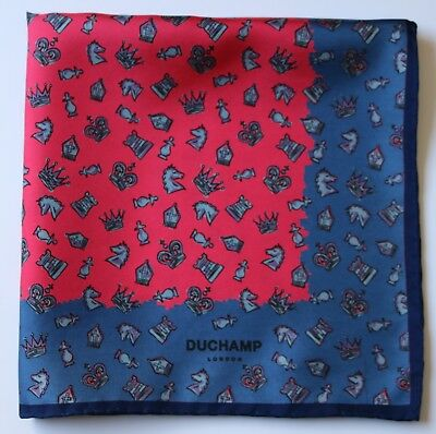 Silk pocket square Duchamp blue & red Hand rolled New condition