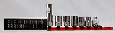"""NEW 7 Pc Mixed Lot of Facom /SK & Wilde 3/8"""" Dr. Chrome Sockets on Magnetic Rail"""