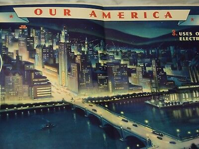 1942 Coca Cola Our America Electricity No.3 Education Chart Lithograph