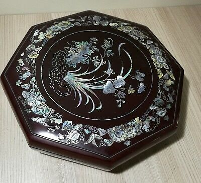 Vintage Chinese Rosewood(hard wood) Octagon shape  Box inlaid Mother of Pearls