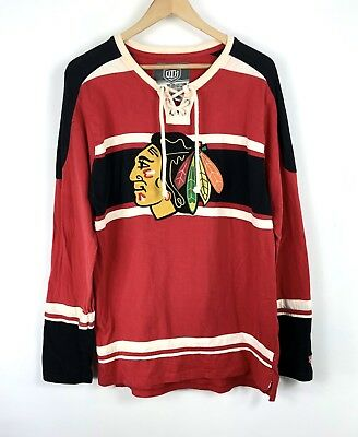 pretty nice bbe52 3316a RETRO CHICAGO BLACKHAWKS Old Time Hockey Jersey Shirt Red Lace Up sz Large