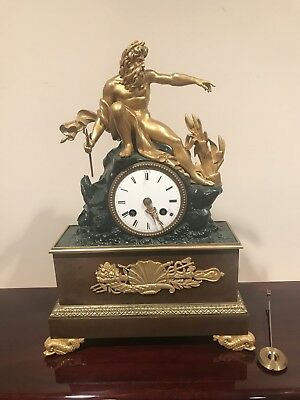 Antique 19 Century French Empire Mantle Figural Clock Ormolu Gilt Bronze