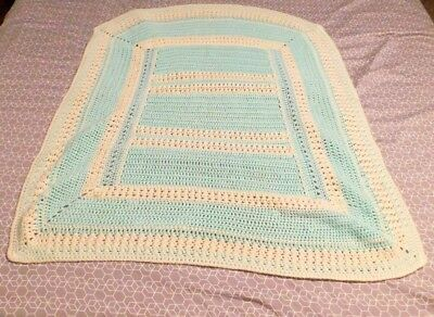 """Vintage Crochet Knit Baby Blanket Afghan Green & White Unisex 35 by 39"""""""
