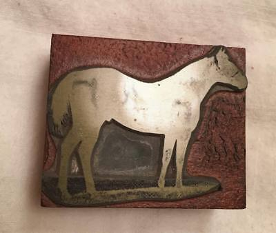 Printing Letterpress Printer's Block - Horse - Brass on Wood - Used