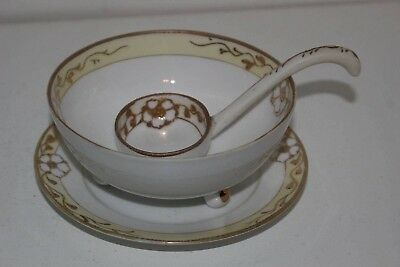 Vintage Nippon Hand Painted Mayo/ Condiment Set-Bowl/plate/ladle-Gold Moriage
