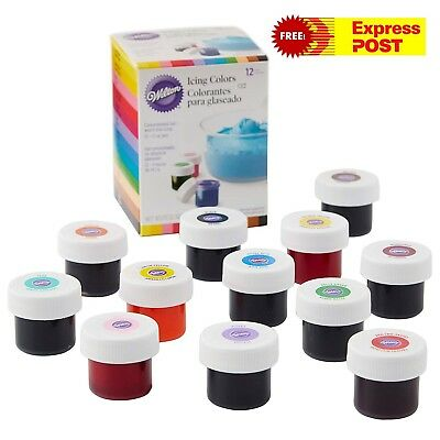 WILTON ICING COLOURS 12 SET Gel Based Food Colour Cake Decorating Food Colouring