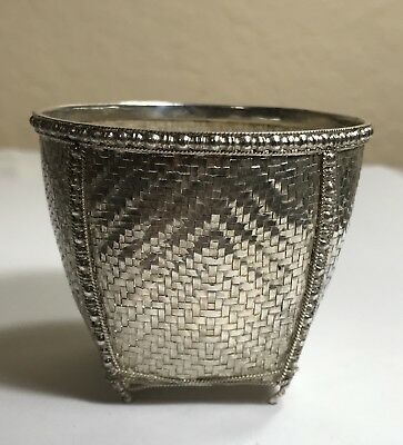 """Chinese Export Sterling Silver Woven Basket 2 1/8"""" Height"""