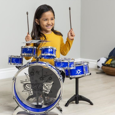 11-Piece Kids Beginner Blue Drum Percussion Musical Instrument Toy Full Set NEW