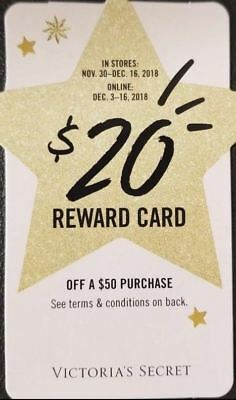 Victorias Secret Holiday Reward Gift Cards $20 off $50 Total Gift Card VS Online