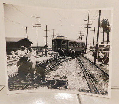 Vintage 8 X 10  Black & White Photo Pacific Electric Interurban Car and Workers