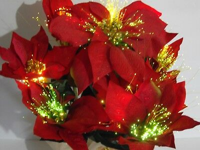 """Holiday Time 17"""" Fiber Optic Poinsettia Arrangement with adapter in box PRETTY"""