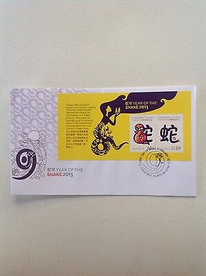 2013 - Australia - Christmas Island - Year of the Snake Mini Sheet FDC