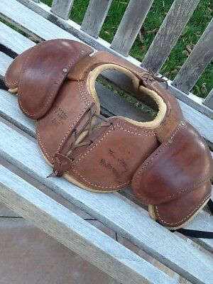 AWESOME Old Antique 1930s ALL Leather Football Shoulder Pads Circa Early Vintage