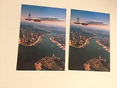 Lot of 2 Chrome Postcards, British Airways Concorde, NYC, Twin Towers 1986