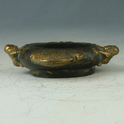 Old China Copper Gilt Brush Washers Carved Children and Fishes RT2003`a