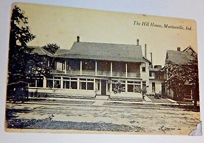 Vintage HILL HOUSE MARTINSVILLE Indiana Photo Postcard