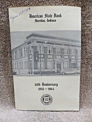 Vintage 1964 American State Bank Sheridan Indiana 50th Anniversary Booklet