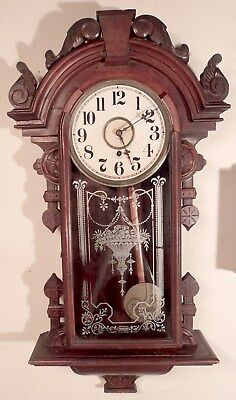 """C1890s Gilbert """"Columbia"""" 8 Day Time Only Wall Clock Parts or Restore"""