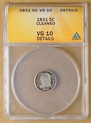 1831 Capped Bust Half Dime ANACS VG 10 Details