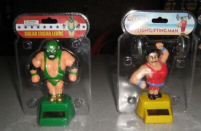 2 PC Solar Power Dancing Toys Solar Weightlifting Man  & Solar Lucha Libre NEW