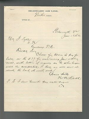 1895 Letter Seaboard Airline Railroad Portsmouth Va To Gumberry North Carolina