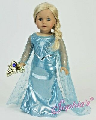 """FROZEN ICE PRINCESS COSTUME - fits American Girl and 18"""" Dolls"""