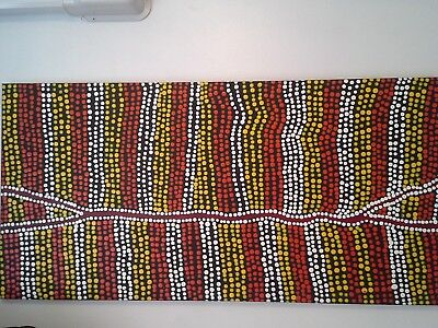 "ABORIGINAL ART DOT PAINTING ON CANVAS, STRETCHED, ""WILD COUNTRY"" 110 x 55 CM"